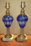 Pair Blue Sandwich Glass Fluid Oil Lamps
