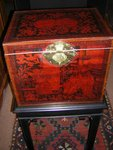 Chinese Export lacquered wooden tea chest
