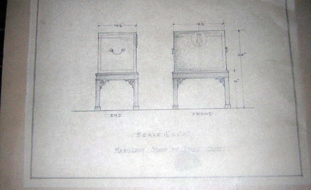 early hand drawn plans for stand