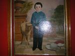 Folk Art Portrait, boy and greyhound