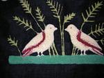 Shirred and Tufted Wool Pillow, Birds and Flowers