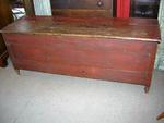 Original Red Painted Wood Chest