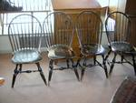 Set of 4 18th C. Bow Back Windsor Chairs