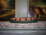 Carved and Painted Folk Art Canoe with Oars